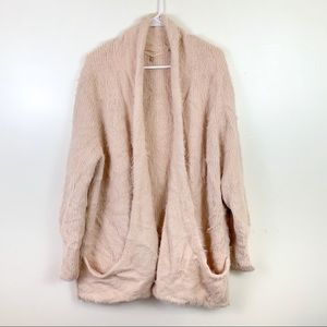 Knitted & Knotted Fuzzy Pink Cardigan Large Open